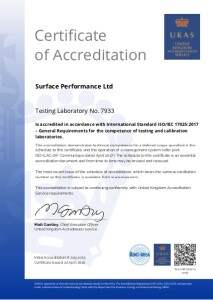 UKAS slip resistance testing certificate